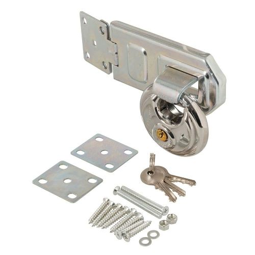 2 Piece Silverline 492211 Disc Padlock 70mm & Steel Hasp & Staple Set